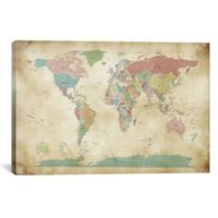 World Cities Map 60-Inch x 40-Inch Canvas Wall Art
