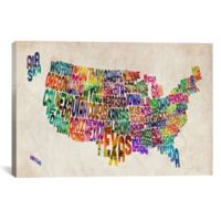 Typographic Text USA Map 60-Inch x 40-Inch Canvas Wall Art