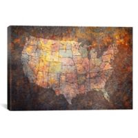 USA Map 60-Inch x 40-Inch Canvas Wall Art