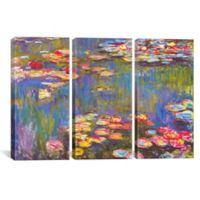 Water Lilies 1916 by Claude Monet 3-Panel Canvas Print