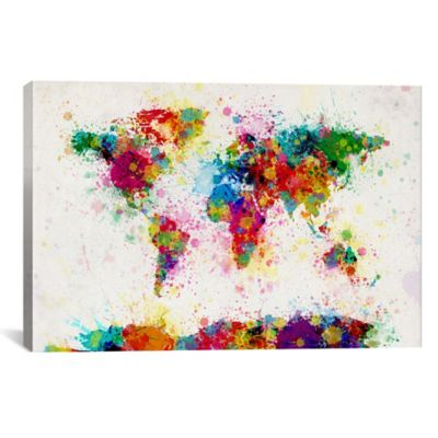 Buy world map wall decor from bed bath beyond world map paint drops iii 18 inch x 12 inch canvas wall art gumiabroncs Image collections