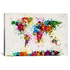 World Map Paint Drops III 26-Inch x 18-Inch Canvas Wall Art