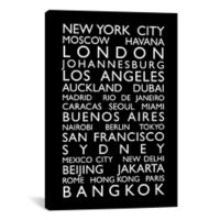 World Cities Bus Roll 18-Inch x 26-Inch Canvas Wall Art