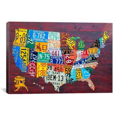 License Plate Map USA Canvas Wall Art