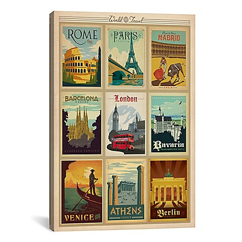 World Travel Collection: European Cities Collage Canvas Wall Art ...