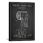 Toilet Paper Charcoal Patent Blueprint 12-Inch x 18-Inch Canvas Wall Art