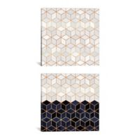 Cube Diptych 60-Inch x 30-Inch Canvas Wall Art in White/Navy