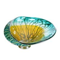 """Moe's Home Collection """"Marine Marigold"""" 14.5-Inch x 17.5-Inch Glass Plate Wall Art"""