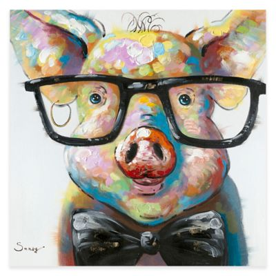 Moe S Home Collection Smart Pig 36 Inch X Canvas Wall