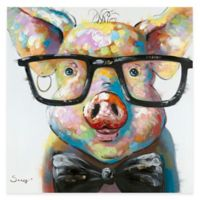 "Moe's Home Collection ""Smart Pig"" 36-Inch x 36-Inch Canvas Wall Art"