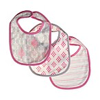 Sterling Baby 3-Pack Set Bib in Pink/Grey