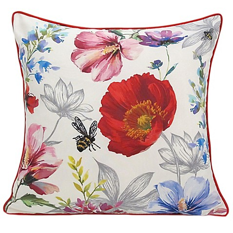 Poppy Square Throw Pillow in Red - Bed Bath & Beyond