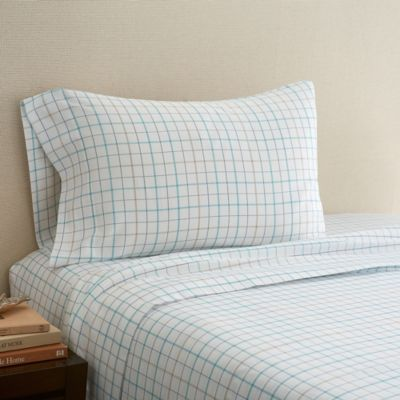hidden retreat lake plaid full sheet set in taupe