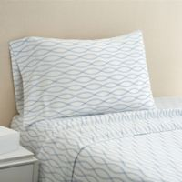 Hidden Retreat 300-Thread-Count Lake Ogee Stripe King Pillowcase in Light Blue