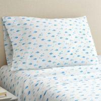 Hidden Retreat 300-Thread-Count Lake Fish Queen Sheet Set in White/Blue