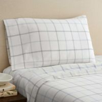 Hidden Retreat 300-Thread-Count Lake Window Plaid California King Sheet Set in Ivory