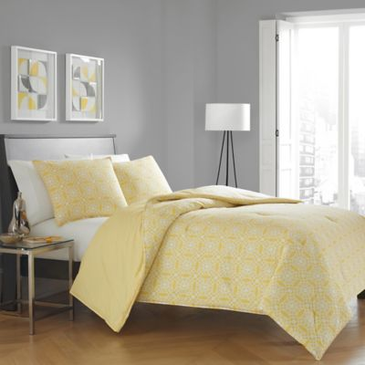city loft bria twin comforter set in yellow