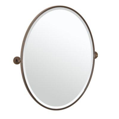 gatco montgomery 33 inch x 2825 inch oval framed mirror in bronze