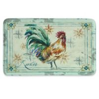 Bacova 22-Inch x 35-Inch Watercolor Rooster Memory Foam Kitchen Mat in Blue/Red