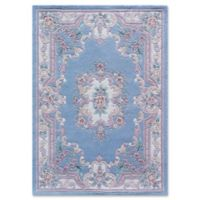 Rugs America New Aubusson Wool 2-Foot 3-Inch x 3-Foot 9-Inch Accent Rug in Light Blue