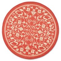 Safavieh Courtyard 5-Foot 3-Inch Round Indoor/Outdoor Area Rug in Red