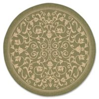 Safavieh Courtyard 5-Foot 3-Inch Round Indoor/Outdoor Rug in Olive