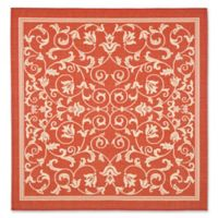 Safavieh Courtyard 6-Foot 7-Inch Square Indoor/Outdoor Rug in Red
