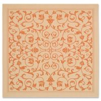 Safavieh Courtyard 6-Foot 7-Inch Square Indoor/Outdoor Area Rug in Natural/Terracotta