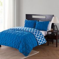 VCNY Scottsdale Reversible King Mini Duvet Cover Set in Navy