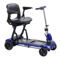 Drive Medical ZooMe Flex Rear Wheel Drive 4-Wheel Folding Travel Scooter with Stadium Seat in Blue