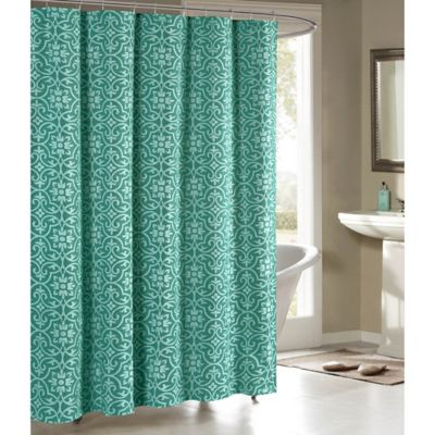 Allure Cotton Blend 72 Inch Shower Curtain In Teal
