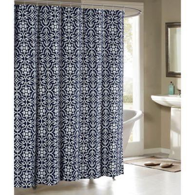 Allure Cotton Blend 72 Inch Shower Curtain In Indigo