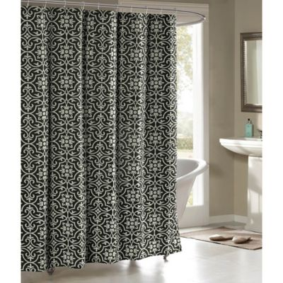 Allure Cotton Blend 72 Inch Shower Curtain In Charcoal