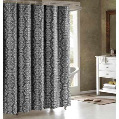 Adisson Cotton-Blend 72-Inch Shower Curtain in Charcoal - Buy Charcoal Shower Curtains From Bed Bath & Beyond