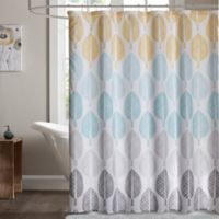 Madison Park Essentials Central Park 72-Inch Shower Curtain in Yellow/Aqua