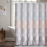 Madison Park Essentials Central 72 Inch Shower Curtain In Coral Green