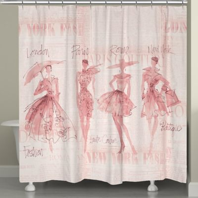 Laural HomeR Pretty In Pink Sketches Shower Curtain Beige