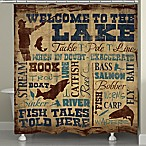 Laural Home® Welcome to the Lake Shower Curtain in Brown