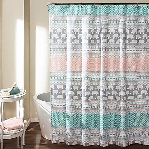 Elephant Stripe Shower Curtain In Turquoise Pink Bed