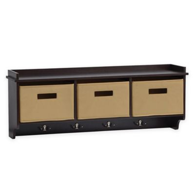 Superb Real Simple® 36 Inch Wall Mount Unit In Espresso With Tan Bins