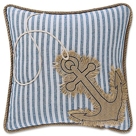 image of Coastal Living® Anchor Square Throw Pillow in Denim/White