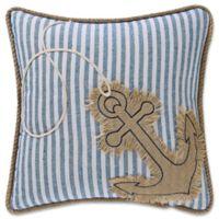 Coastal Living Anchor Square Throw Pillow in Denim/White