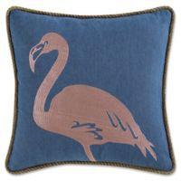 Coastal Living Flamingo Square Throw Pillow in Navy/Pink