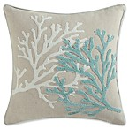 Coastal Living® Coral Life Square Throw Pillow in Aqua