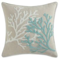 Coastal Living Coral Life Square Throw Pillow in Aqua