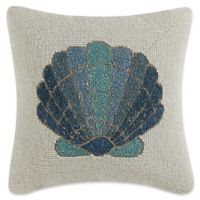 Coastal Living Beaded Shell Square Throw Pillow in Teal/Ivory