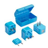 Lewis N. Clark® Adapter Plug Kit with Dual USB Charger in Blue