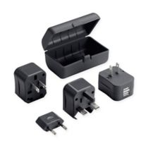 Lewis N. Clark® Adapter Plug Kit with Dual USB Charger in Black