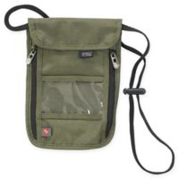 Lewis N. Clark TravelDry Luxe RFID-Blocking Neck Stash in Olive Green