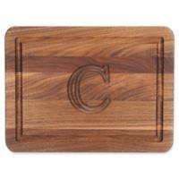 "Cutting Board Company 9-Inch x 12-Inch Wood Monogram Letter ""C"" Cheese Board in Walnut"